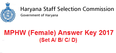 HSSC MPHW Female Answer Key 2017