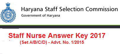 HSSC Staff Nurse Exam Answer Key 2017
