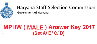 HSSC MPHW (Male) Answer Key 2017 of 29th January 2017
