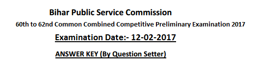 Answer Key of BPSC Common Combined Prelims 2017
