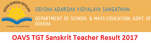 OAVS TGT Result 2017 of Sanskrit