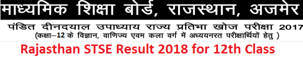 Rajasthan STSE 12th Class Result 2018