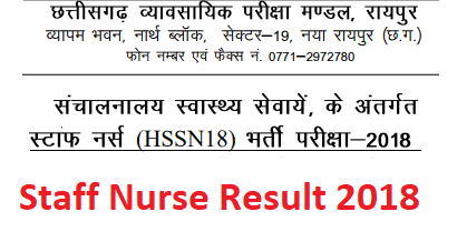 CG Vyapam Staff Nurse Exam Result 2018