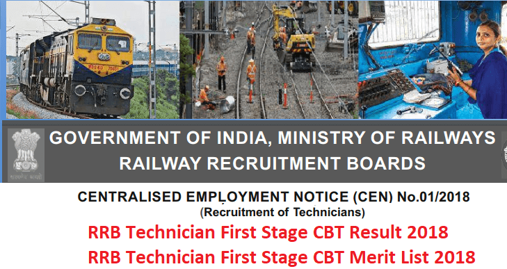 RRB Technician Result 2018 of First Stage CBT