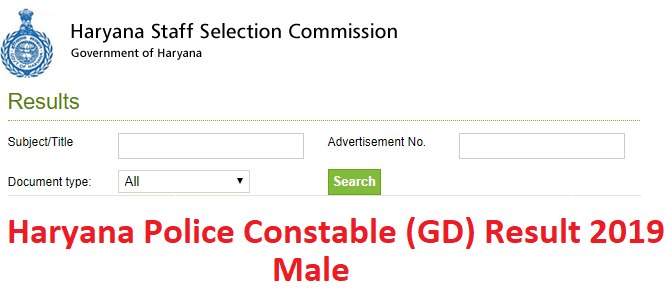 Haryana Police Constable (Male) Result 2019