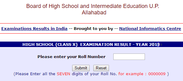 UP Board 10th Class Result 2019