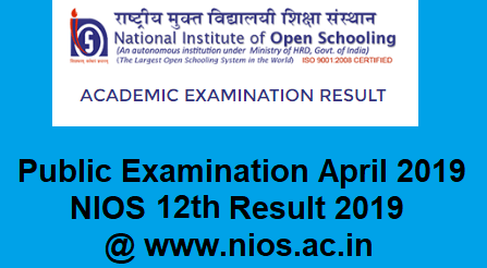 NIOS Result for 12th Class 2019