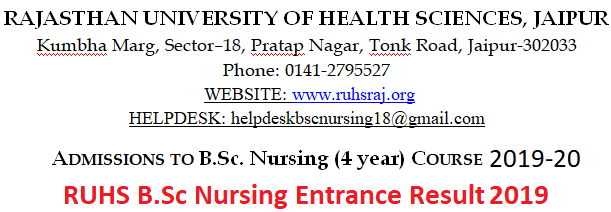 Rajasthan B.Sc Nursing Entrance Result 2019