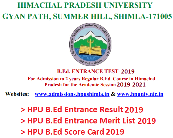 HPU BEd Entrance Merit List 2019