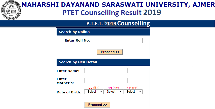 Rajasthan PTET Counselling Result 2019